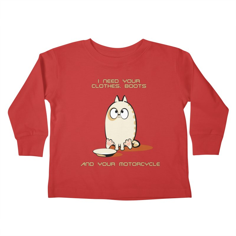 Terminator Cat Kids Toddler Longsleeve T-Shirt by LookAway Design Shop