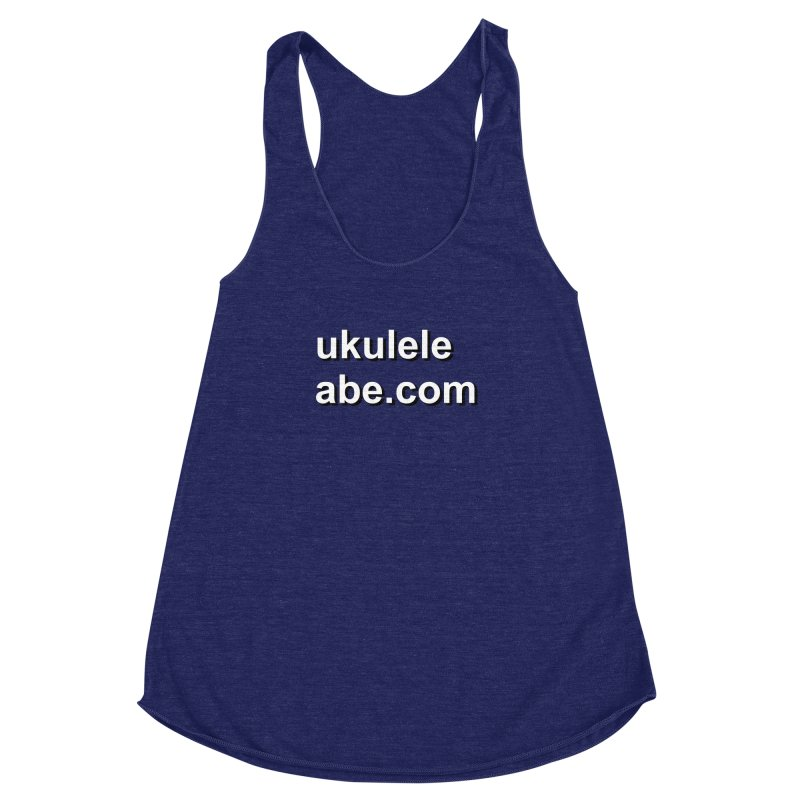 Abe's website on a shirt Women's Racerback Triblend Tank by ukulele abe's Artist Shop
