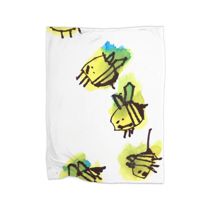 Peter's Bees Home Fleece Blanket Blanket by ukulele abe's Artist Shop