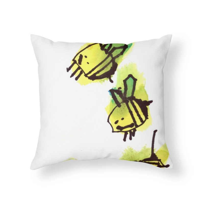 Peter's Bees Home Throw Pillow by ukulele abe's Artist Shop