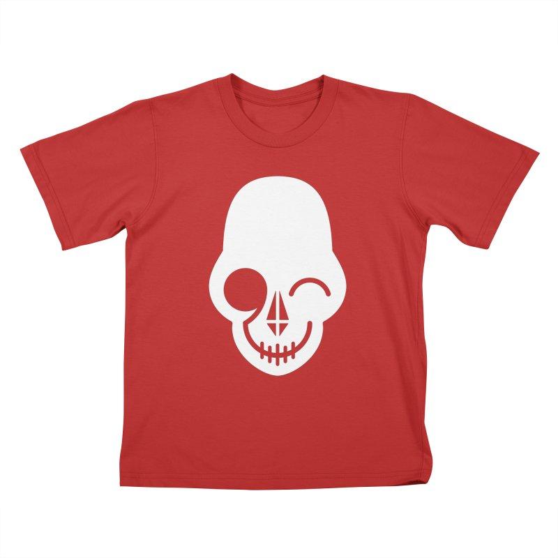 Flirting with danger (white print) Kids T-Shirt by PAPKOK