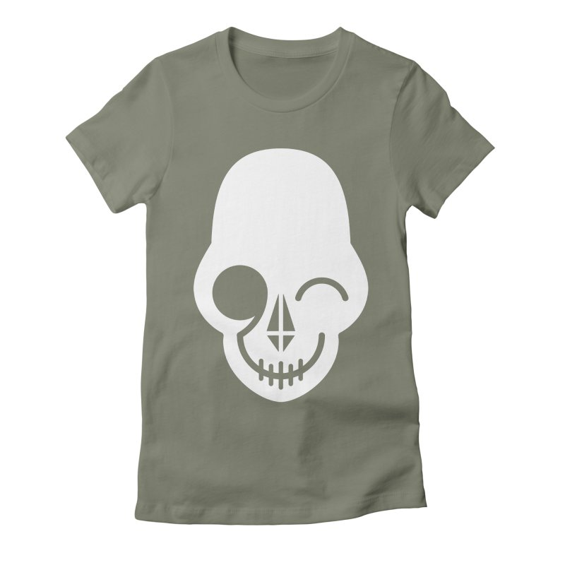 Flirting with danger (white print) Women's Fitted T-Shirt by PAPKOK