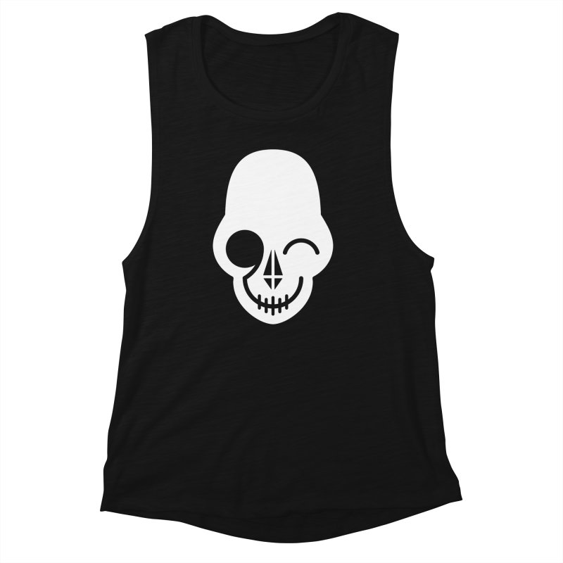Flirting with danger (white print) Women's Muscle Tank by PAPKOK