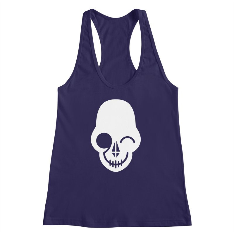 Flirting with danger (white print) Women's Racerback Tank by PAPKOK