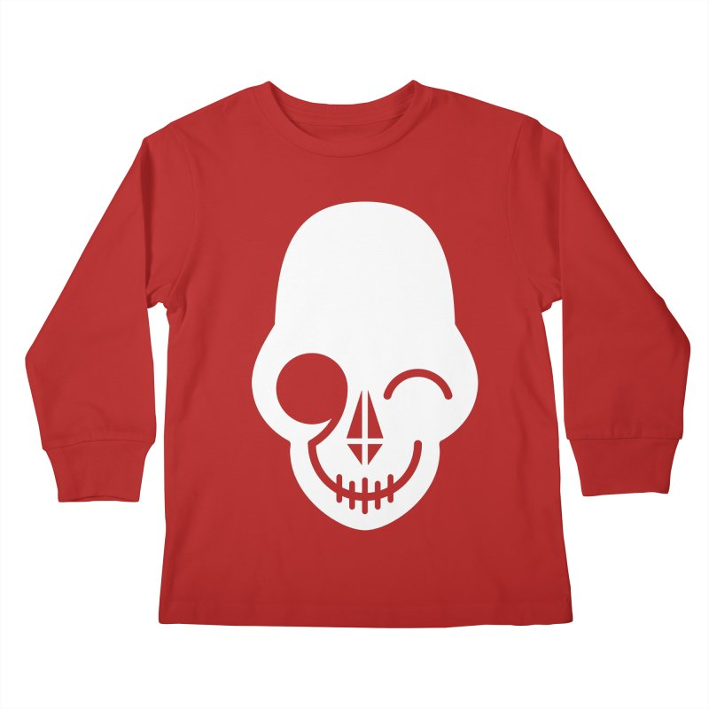 Flirting with danger (white print) Kids Longsleeve T-Shirt by PAPKOK