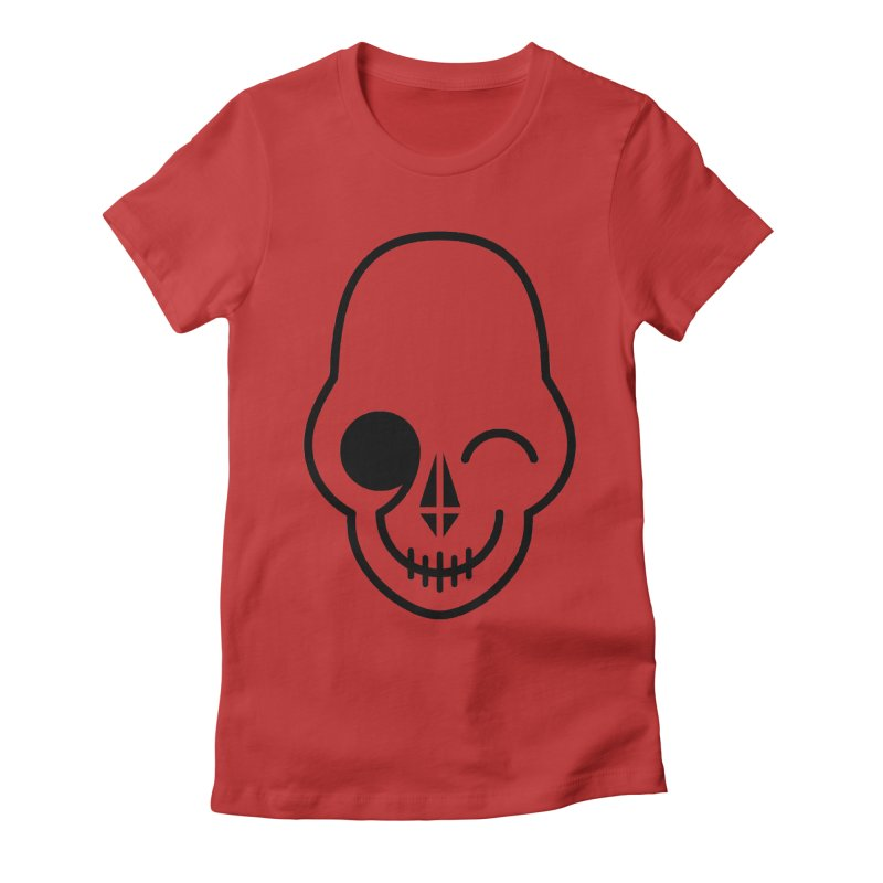 Flirting with danger (black print) Women's Fitted T-Shirt by PAPKOK