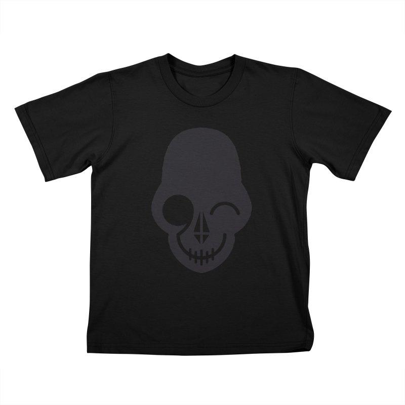 Flirting with danger (dark skull) Kids T-Shirt by PAPKOK