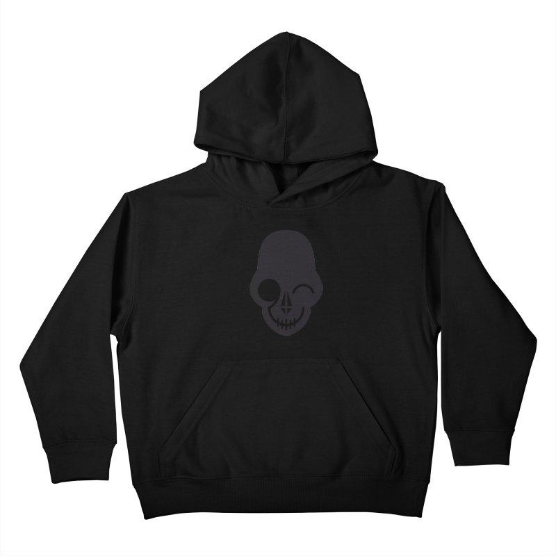 Flirting with danger (dark skull) Kids Pullover Hoody by PAPKOK