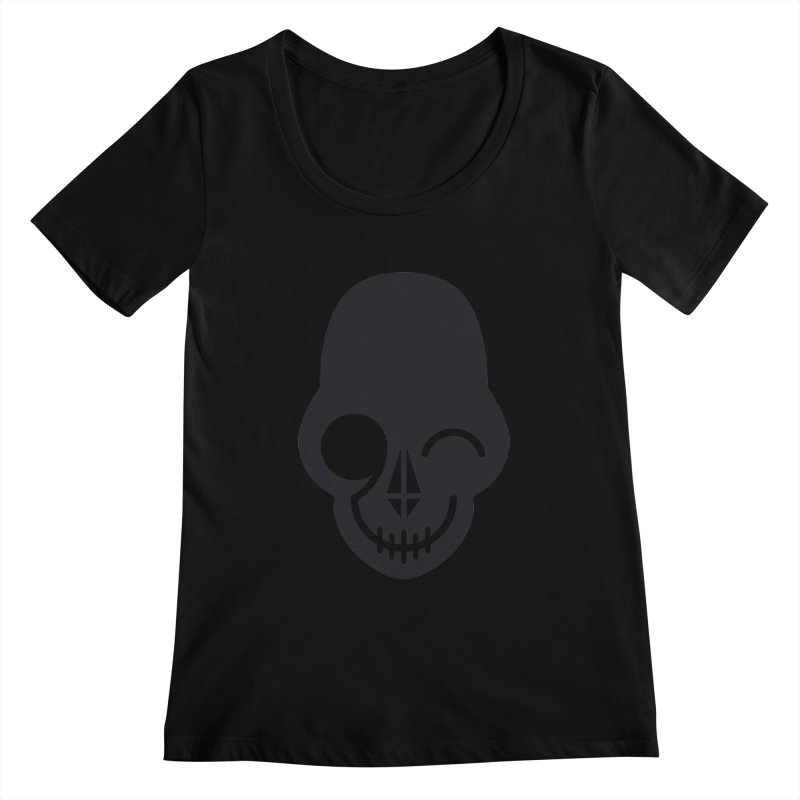 Flirting with danger (dark skull) Women's Scoopneck by PAPKOK
