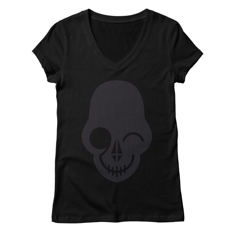 Flirting with danger (dark skull) Women's V-Neck by PAPKOK