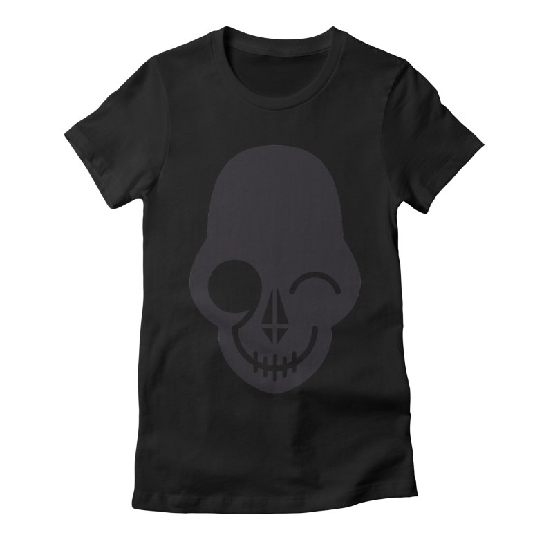 Flirting with danger (dark skull) Women's Fitted T-Shirt by PAPKOK