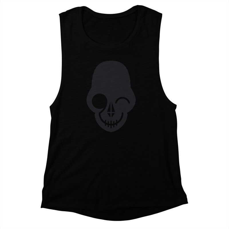 Flirting with danger (dark skull) Women's Muscle Tank by PAPKOK