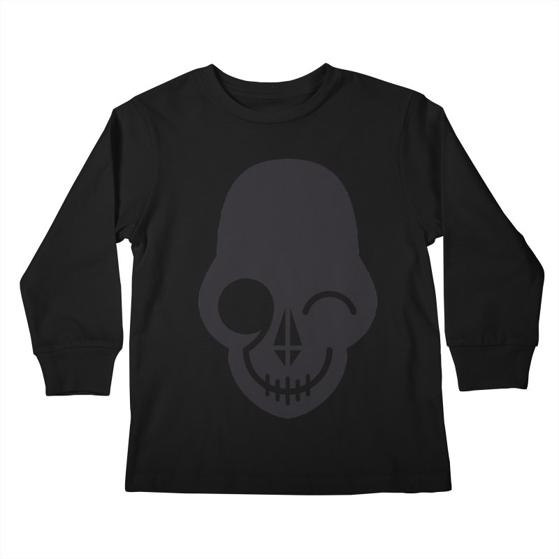 Flirting with danger (dark skull) Kids Longsleeve T-Shirt by PAPKOK