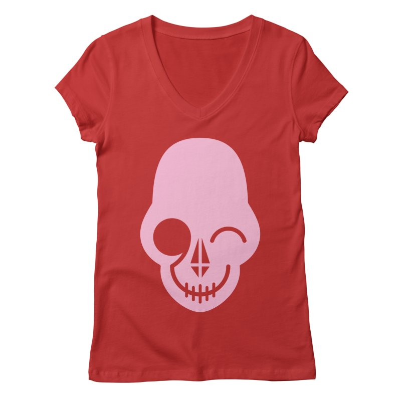 Flirting with danger (Pink) Women's V-Neck by PAPKOK