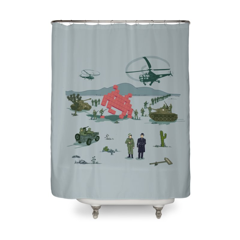 Roswell UFO incident - BLUE Home Shower Curtain by UMI's Artist Shop
