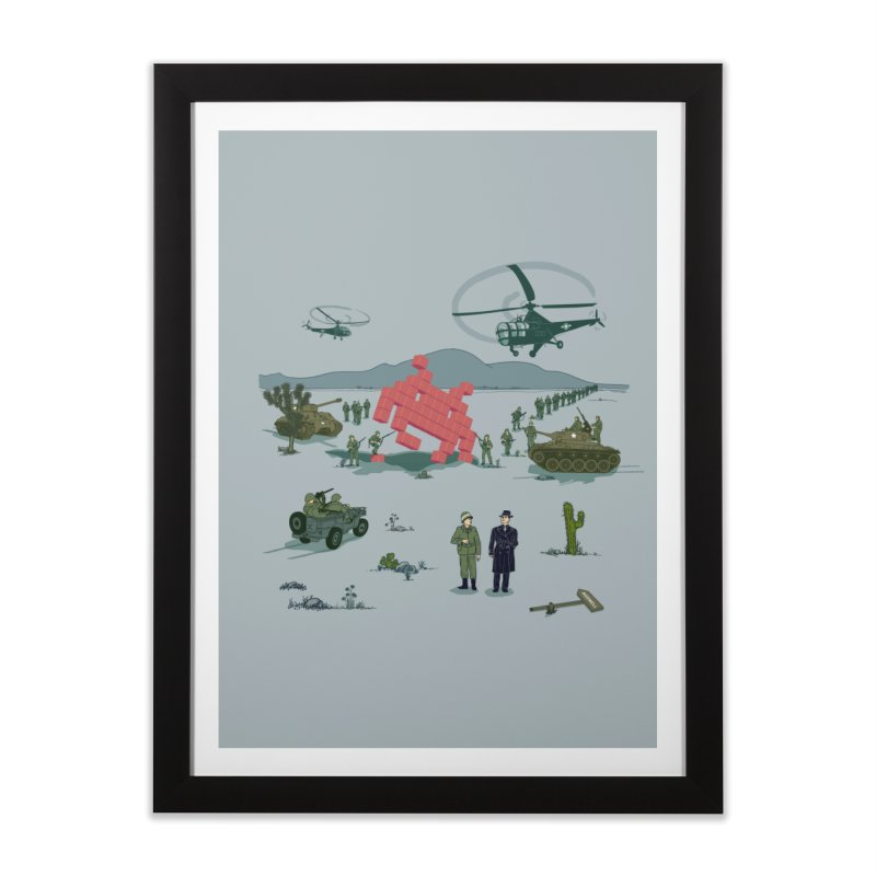 Roswell UFO incident - BLUE Home Framed Fine Art Print by UMI's Artist Shop