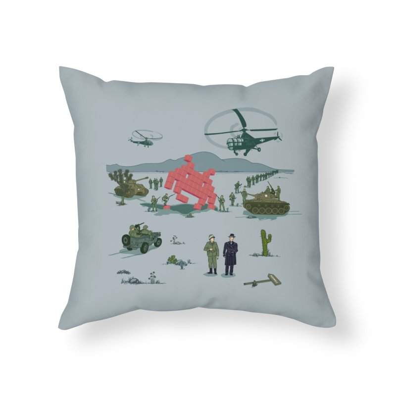Roswell UFO incident - BLUE Home Throw Pillow by UMI's Artist Shop