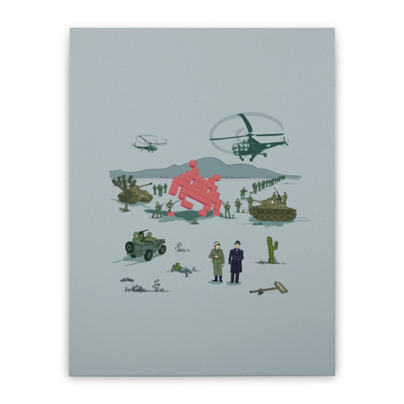 Roswell UFO incident - BLUE Home Stretched Canvas by UMI's Artist Shop