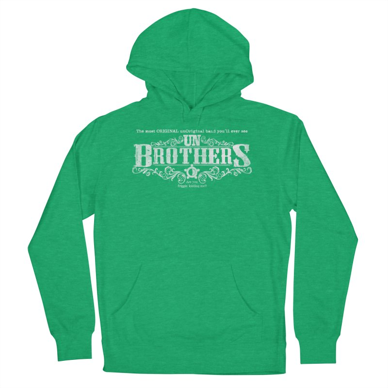 unBrothers White logo Men's French Terry Pullover Hoody by unStuff by unBrothers