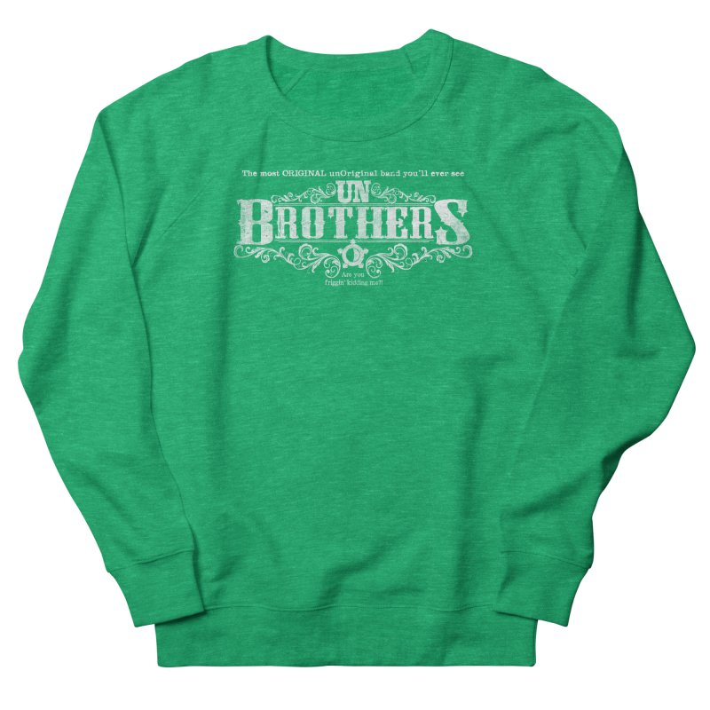 unBrothers White logo Men's French Terry Sweatshirt by unStuff by unBrothers