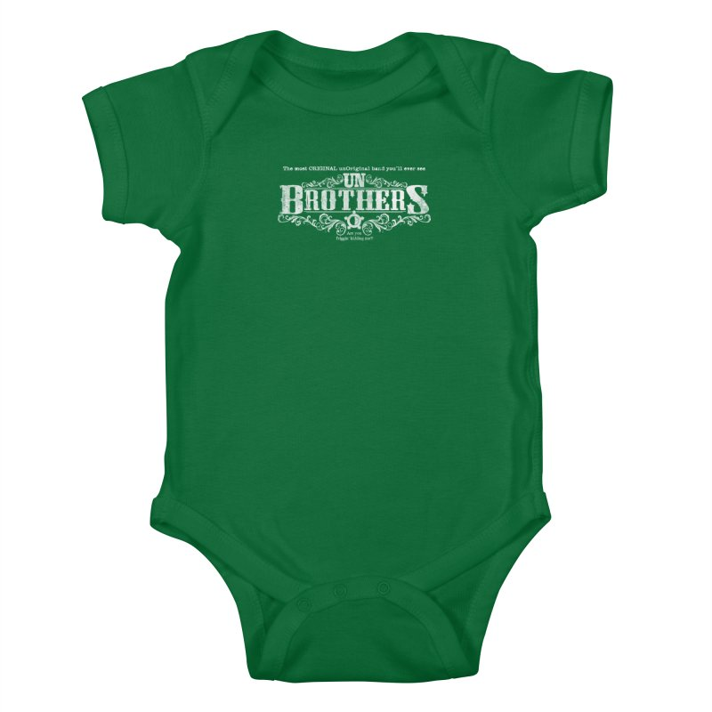 unBrothers White logo Kids Baby Bodysuit by unStuff by unBrothers