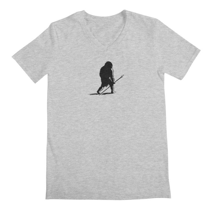 Uncivilized Books Caveman Logo T-Shirt Men's Regular V-Neck by Uncivilized Books Merch Shop