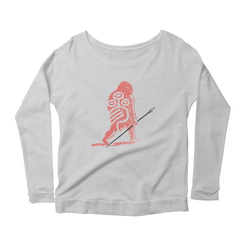 CRAIG THOMPSON UNCIV CAVEMAN LOGO Women's Scoop Neck Longsleeve T-Shirt by Uncivilized Books Merch Shop