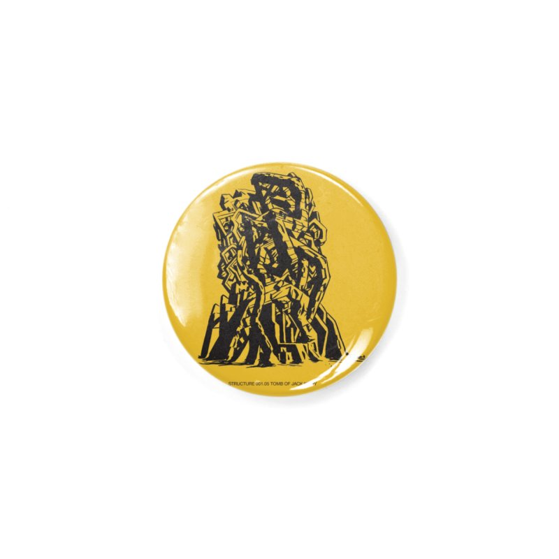 THE TOMB OF JACK KIRBY (STRUCTURE SERIES, TOM KACZYNSKI blk) Accessories Button by Uncivilized Books Merch Shop