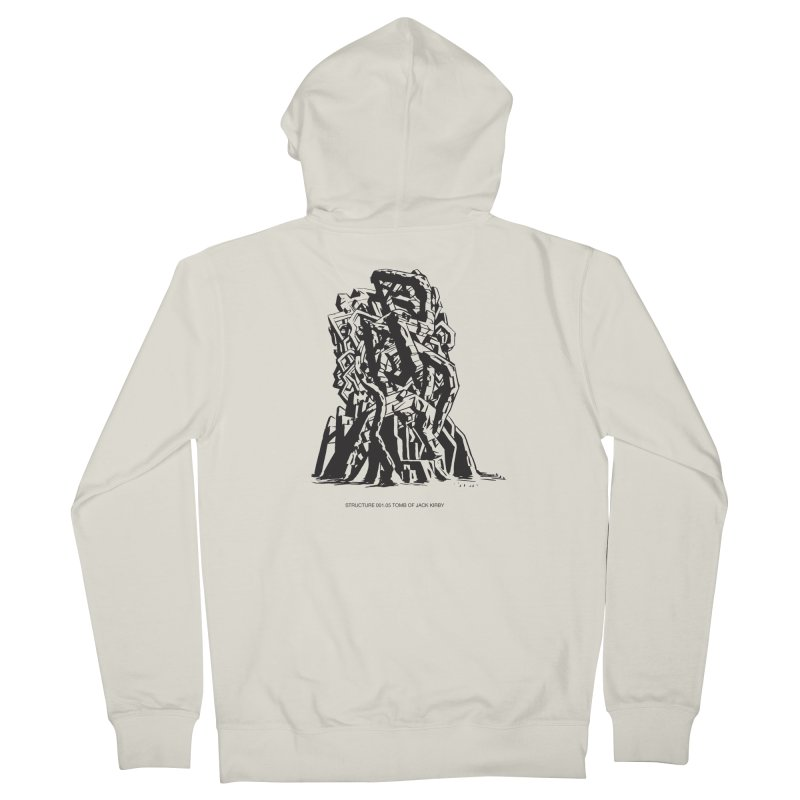 THE TOMB OF JACK KIRBY (STRUCTURE SERIES, TOM KACZYNSKI blk) Men's French Terry Zip-Up Hoody by Uncivilized Books Merch Shop