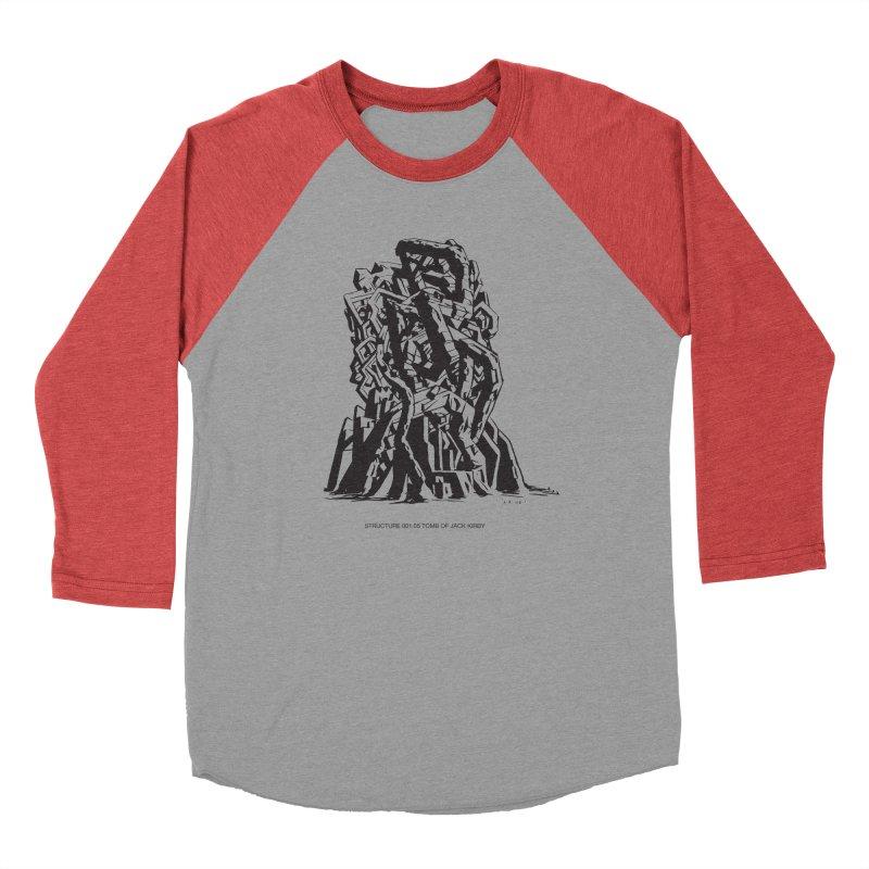 THE TOMB OF JACK KIRBY (STRUCTURE SERIES, TOM KACZYNSKI blk) Men's Baseball Triblend Longsleeve T-Shirt by Uncivilized Books Merch Shop