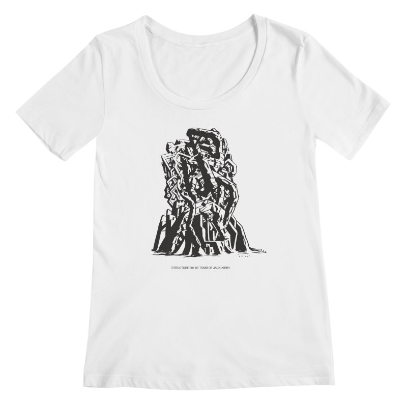 THE TOMB OF JACK KIRBY (STRUCTURE SERIES, TOM KACZYNSKI blk) Women's Regular Scoop Neck by Uncivilized Books Merch Shop