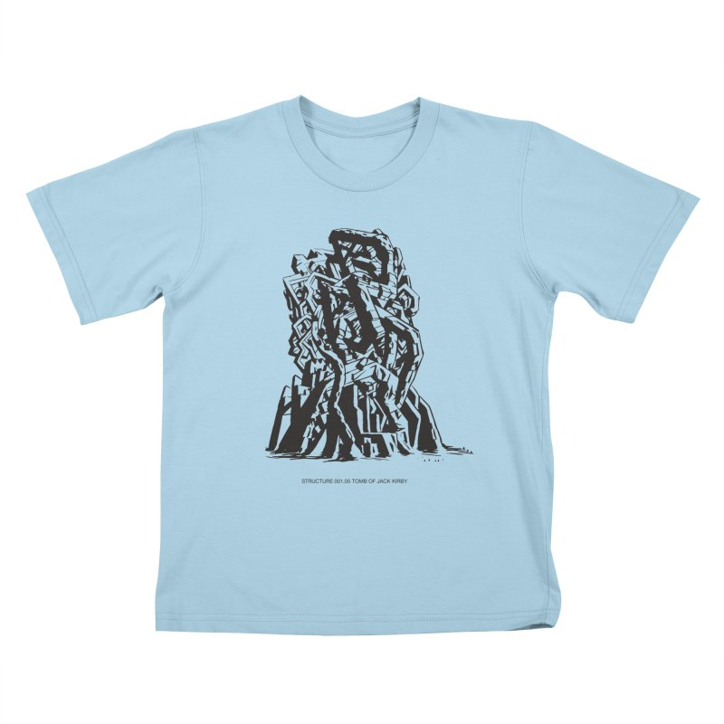 THE TOMB OF JACK KIRBY (STRUCTURE SERIES, TOM KACZYNSKI blk) Kids T-Shirt by Uncivilized Books Merch Shop