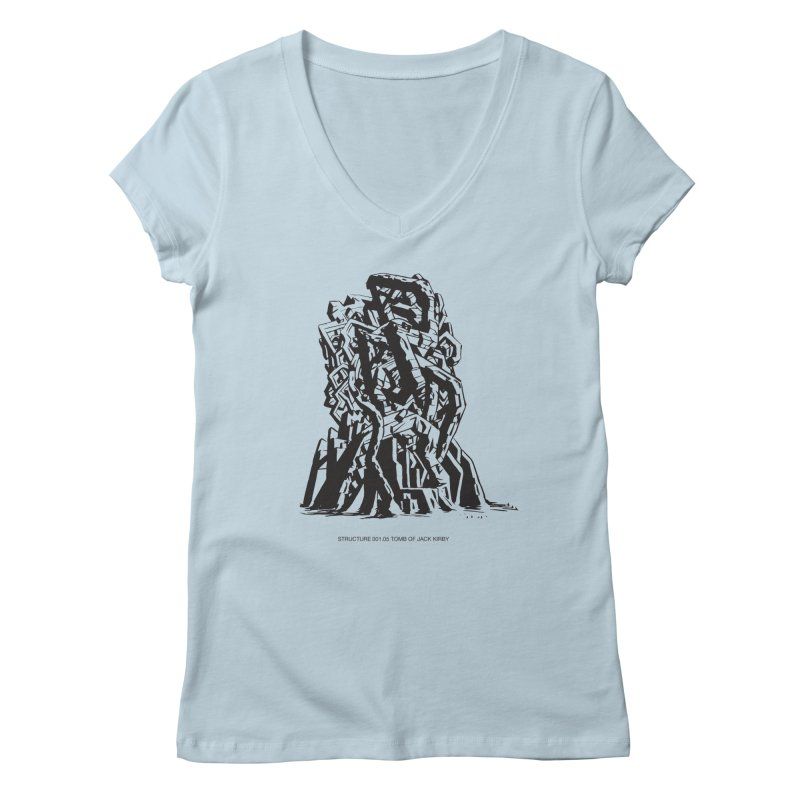 THE TOMB OF JACK KIRBY (STRUCTURE SERIES, TOM KACZYNSKI blk) Women's Regular V-Neck by Uncivilized Books Merch Shop