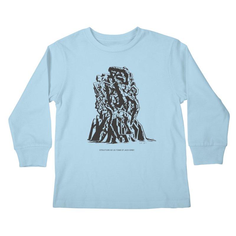 THE TOMB OF JACK KIRBY (STRUCTURE SERIES, TOM KACZYNSKI blk) Kids Longsleeve T-Shirt by Uncivilized Books Merch Shop