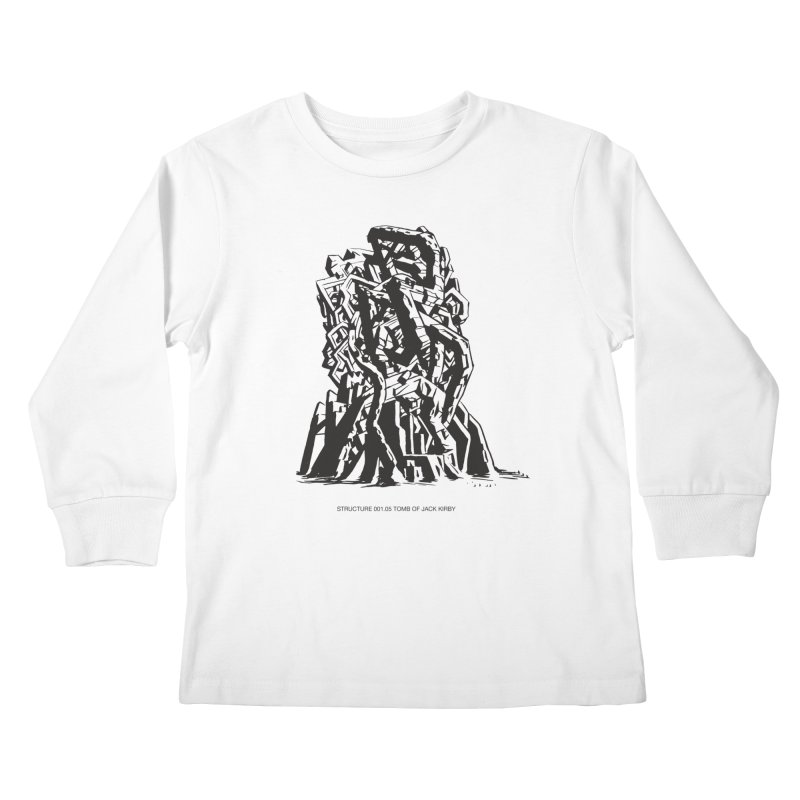 THE TOMB OF JACK KIRBY (STRUCTURE SERIES, TOM KACZYNSKI blk) Kids Longsleeve T-Shirt by Uncivilized Books Merch Shop