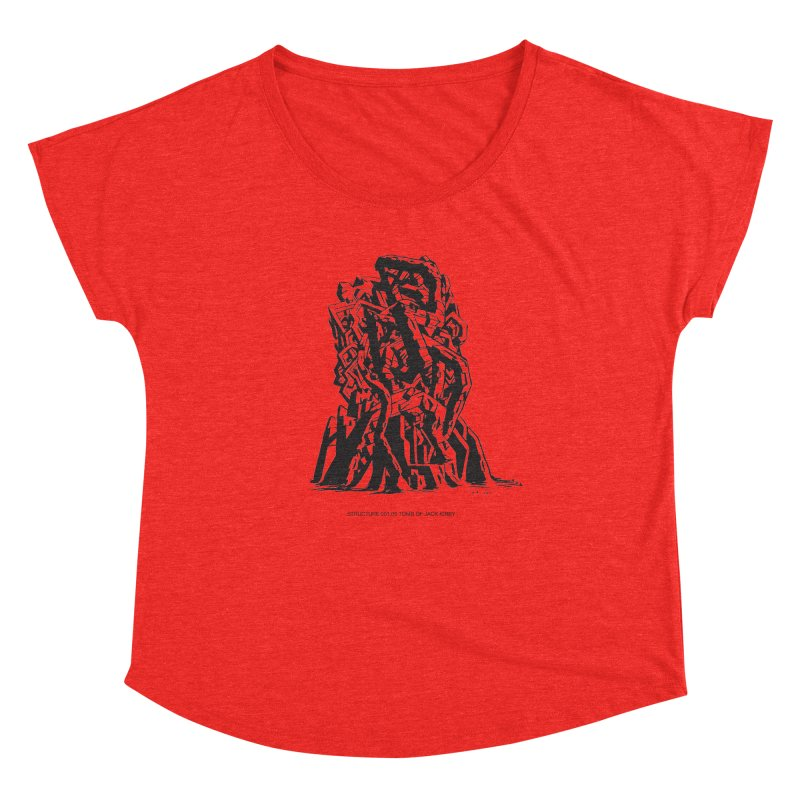 THE TOMB OF JACK KIRBY (STRUCTURE SERIES, TOM KACZYNSKI blk) Women's Scoop Neck by Uncivilized Books Merch Shop