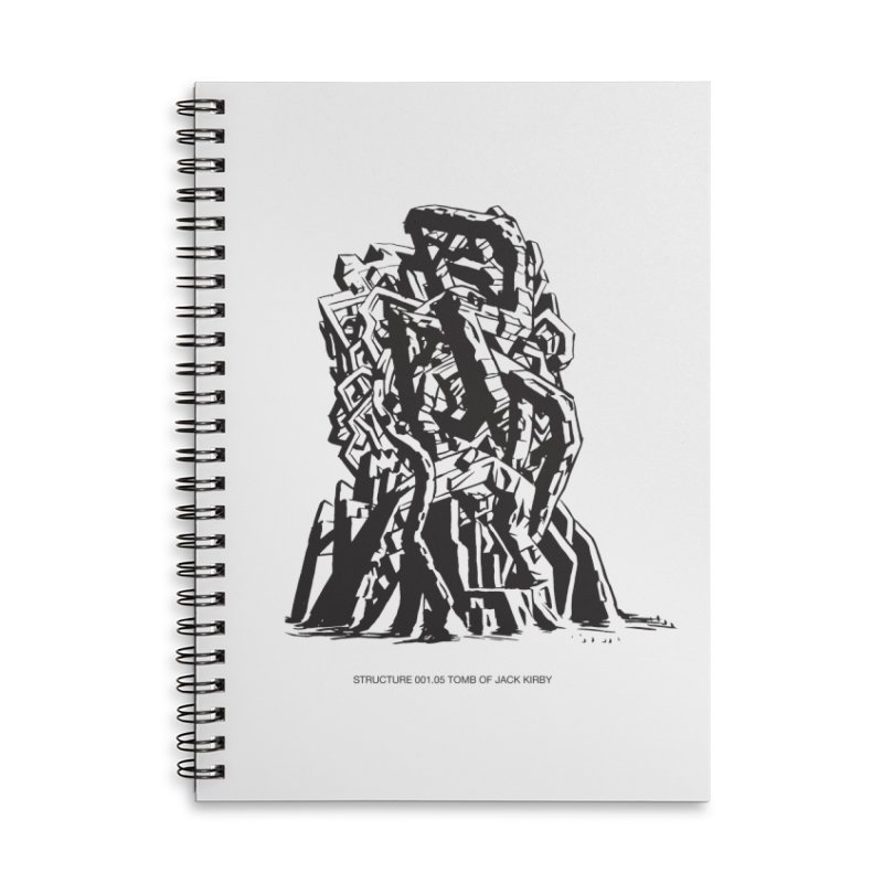 THE TOMB OF JACK KIRBY (STRUCTURE SERIES, TOM KACZYNSKI blk) Accessories Lined Spiral Notebook by Uncivilized Books Merch Shop