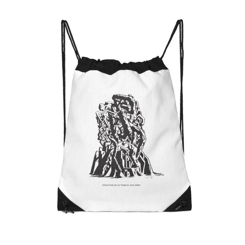 THE TOMB OF JACK KIRBY (STRUCTURE SERIES, TOM KACZYNSKI blk) Accessories Drawstring Bag Bag by Uncivilized Books Merch Shop