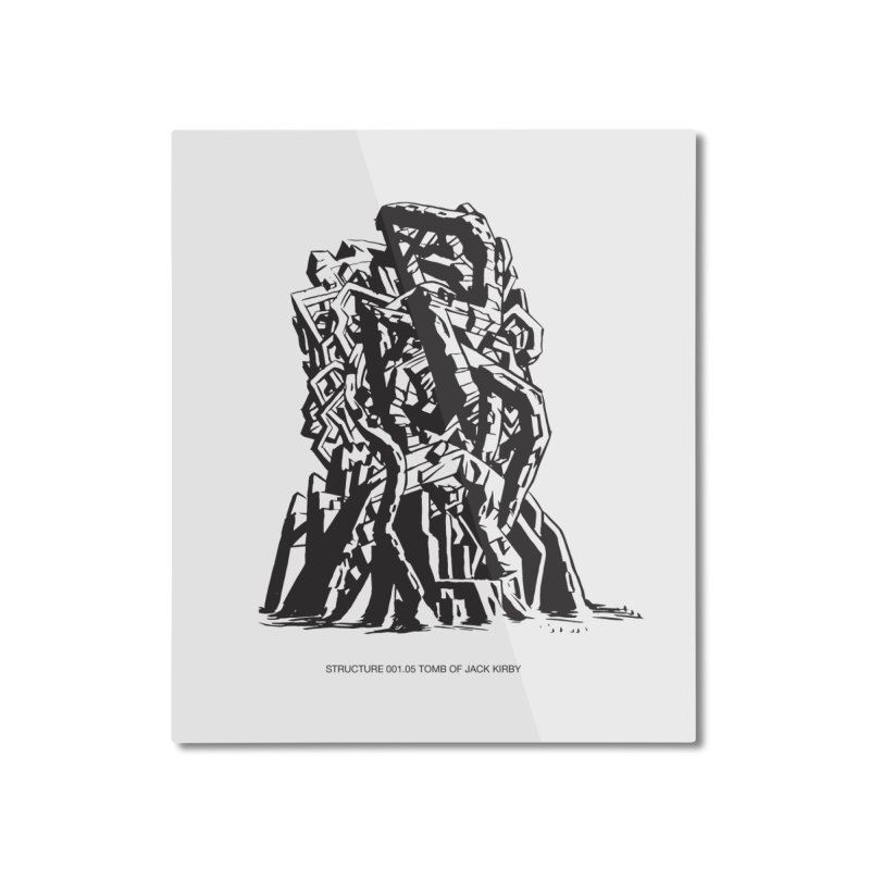 THE TOMB OF JACK KIRBY (STRUCTURE SERIES, TOM KACZYNSKI blk) Home Mounted Aluminum Print by Uncivilized Books Merch Shop