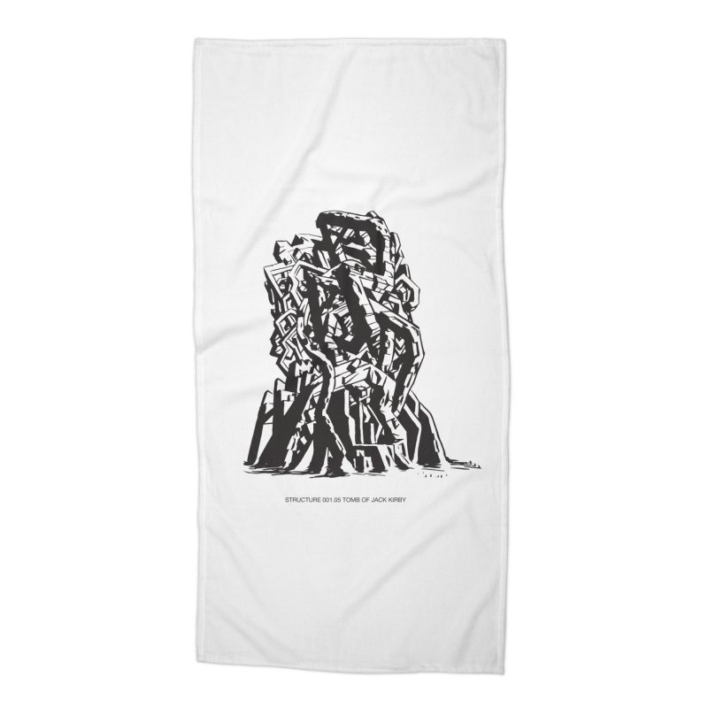 THE TOMB OF JACK KIRBY (STRUCTURE SERIES, TOM KACZYNSKI blk) Accessories Beach Towel by Uncivilized Books Merch Shop