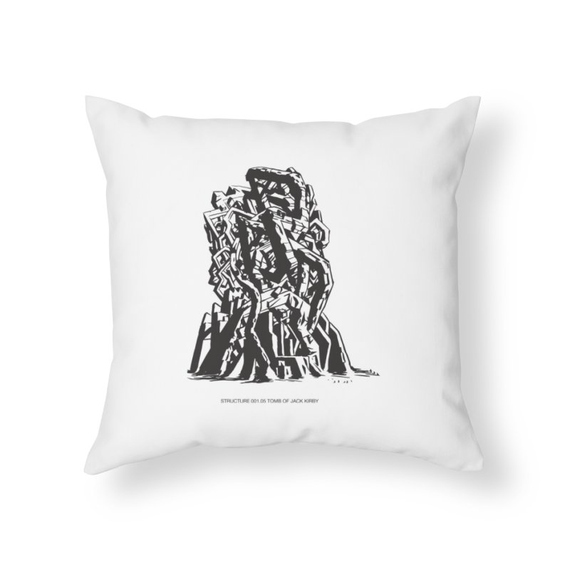 THE TOMB OF JACK KIRBY (STRUCTURE SERIES, TOM KACZYNSKI blk) Home Throw Pillow by Uncivilized Books Merch Shop