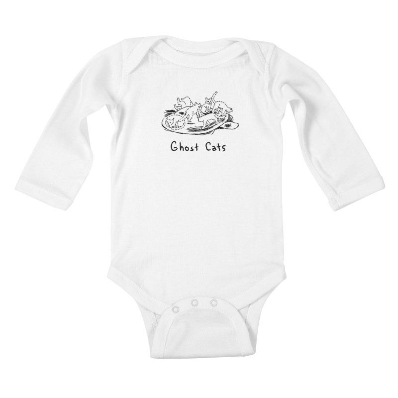 Ghost Cats (Gabrielle Bell, blk) Kids Baby Longsleeve Bodysuit by Uncivilized Books Merch Shop