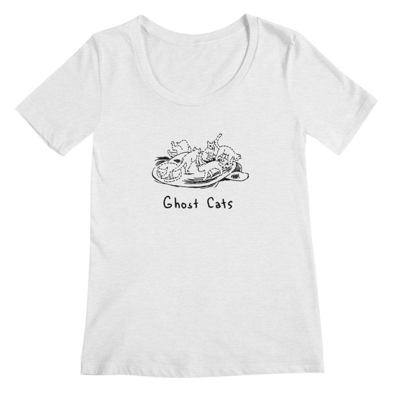 Ghost Cats (Gabrielle Bell, blk) Women's Regular Scoop Neck by Uncivilized Books Merch Shop