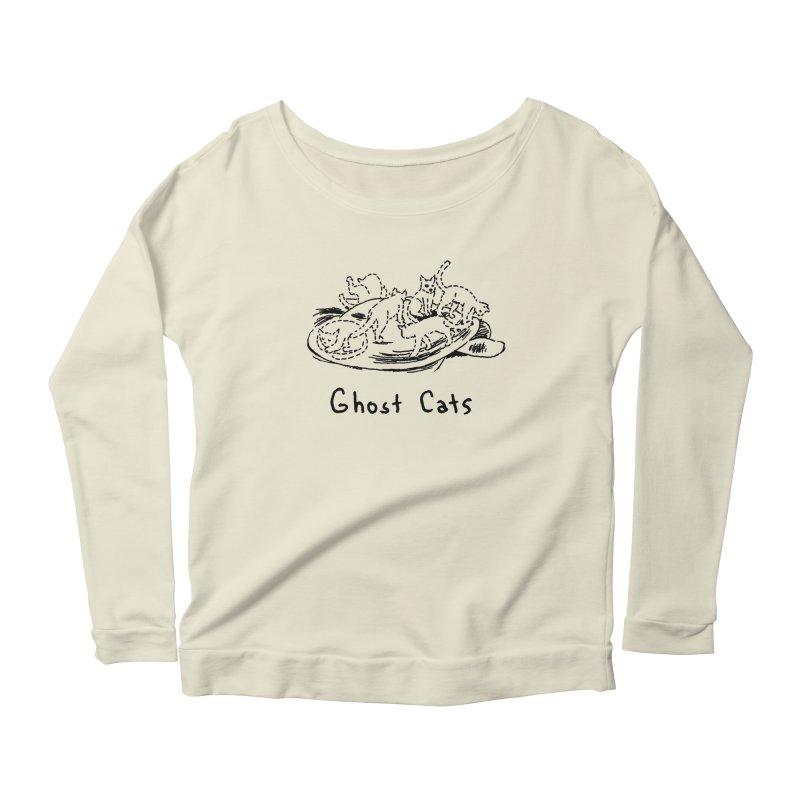 Ghost Cats (Gabrielle Bell, blk) Women's Scoop Neck Longsleeve T-Shirt by Uncivilized Books Merch Shop
