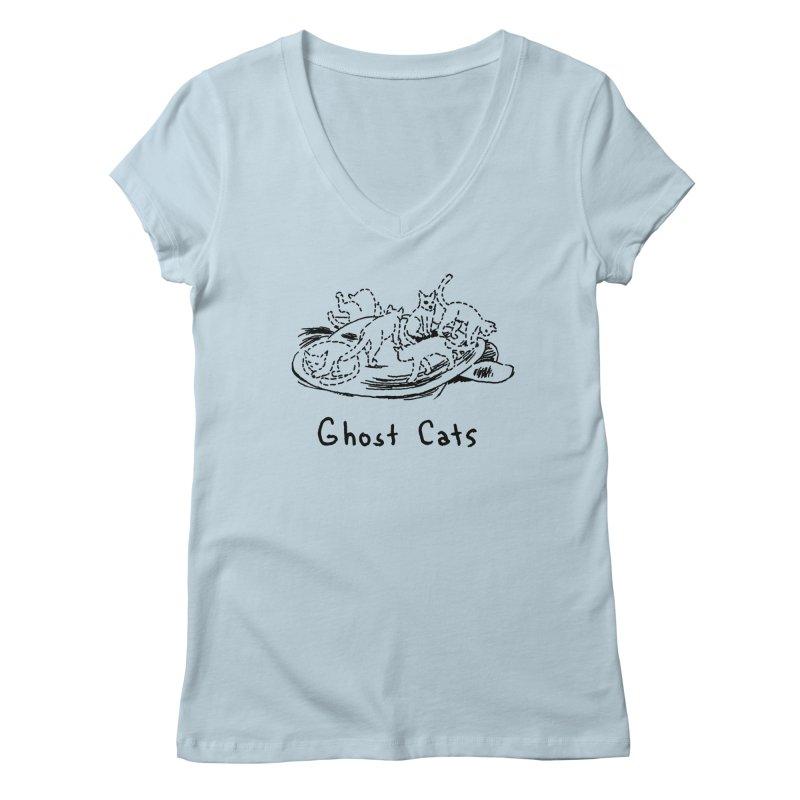 Ghost Cats (Gabrielle Bell, blk) Women's Regular V-Neck by Uncivilized Books Merch Shop