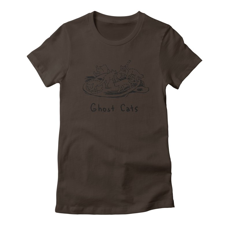 Ghost Cats (Gabrielle Bell, blk) Women's Fitted T-Shirt by Uncivilized Books Merch Shop