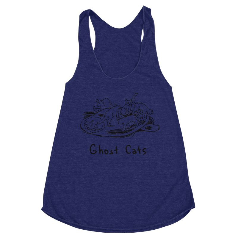 Ghost Cats (Gabrielle Bell, blk) Women's Racerback Triblend Tank by Uncivilized Books Merch Shop