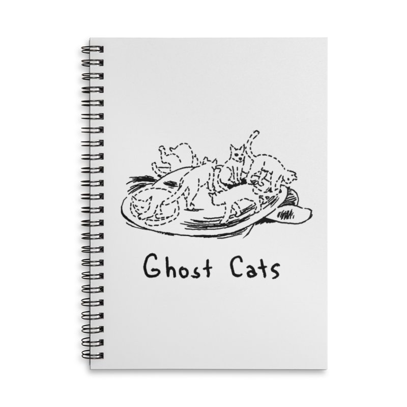 Ghost Cats (Gabrielle Bell, blk) Accessories Lined Spiral Notebook by Uncivilized Books Merch Shop