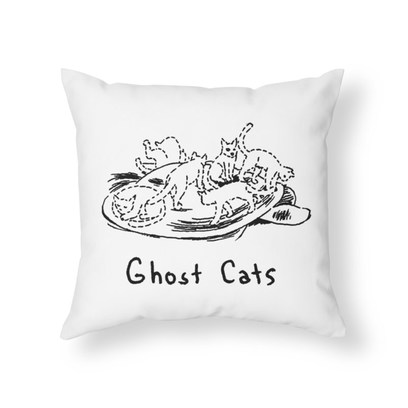Ghost Cats (Gabrielle Bell, blk) Home Throw Pillow by Uncivilized Books Merch Shop