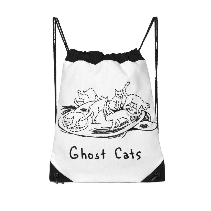 Ghost Cats (Gabrielle Bell, blk) Accessories Drawstring Bag Bag by Uncivilized Books Merch Shop